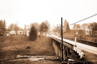 Oregon Department of Transportation History Center##In this 1949 photo-graph, a bridge is under construction on Highway 99W at what was then the southern edge of McMinnville.