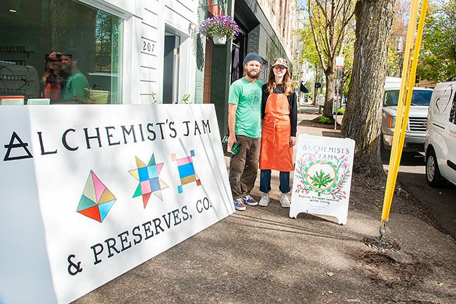 Rusty Rae/News-Register ## Danny Roberts and Jennifer Fisher will sell their Alchemist's Jam and other products in their retail shop on Ford Street downtown.