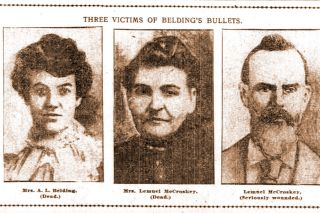 "Image: UO Libraries##Portraits of three of Alfred Belding's victims, published in the Sunday Oregonian on July 13, 1902: his wife, Sylvia Maude McCroskey Belding; his mother-in-law, Deborah McCroskey; and his father-in-law, Lemuel McCroskey. No portrait of George ""Gyp"" Woodward was published."