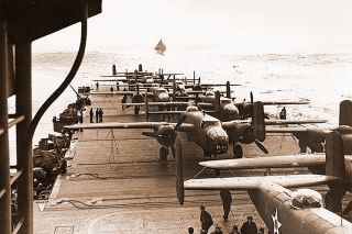 U.S. Navy photo##The B-25s of the Doolittle raiders as they appeared during the voyage to the launch point.