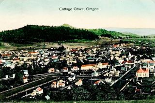 ## A postcard image showing a bird's-eye view of Cottage Grove in 1903.
