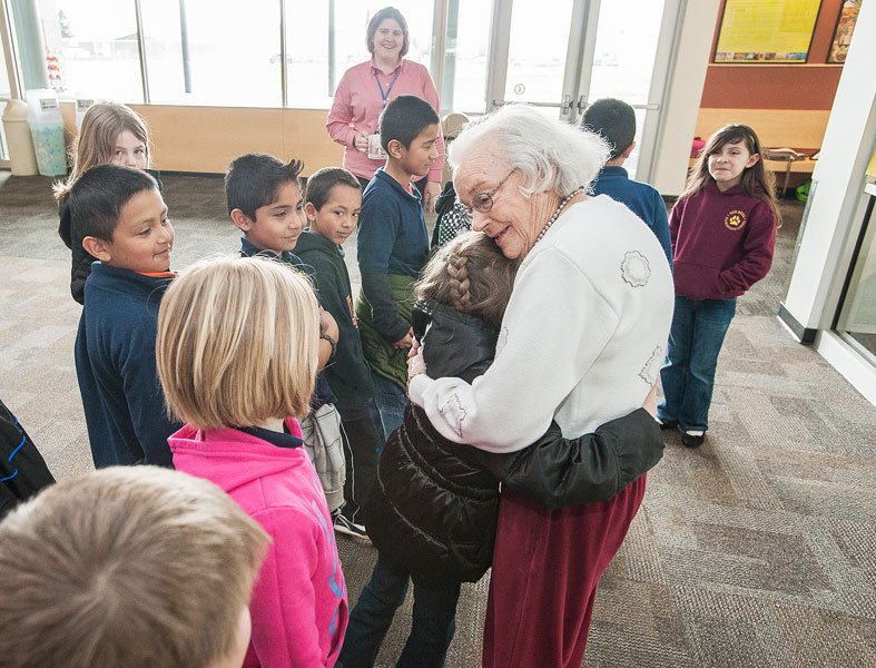 News-Register file photo##Staff and students loved seeing lifelong educator  Sue Buel.