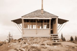Image: Library of Congress##Forest Service fire lookout stations like this one were used by Aircraft Warning Service volunteers during the war. This one is on Suntop Mountain in Pierce County, Washington.