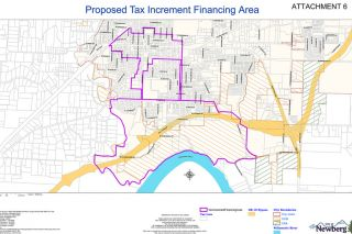 City of Newberg graphic##Map showing the proposed borders (in purple) for an Urban Renewal Area in Newberg.