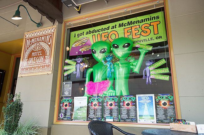 Rockne Roll/News-Register##McMenamin's Hotel Oregon decorated its window