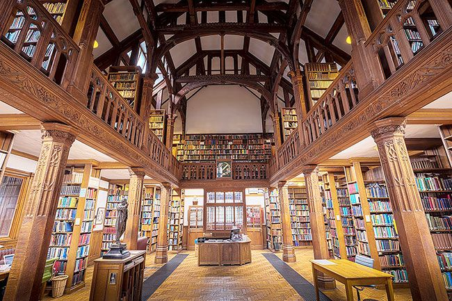 Can Stock photo##Gladstone s Library in Wales offers lodging for visiting book lovers. It was founded in 1894 by four-time British Prime Minister William Ewart Gladstone, who was eager to share his personal library. The library houses 250,000 printed items, including a renowned collection of theological, historical, cultural and political materials.
