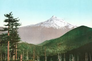 Image: Library of Congress##An 1898 Photochrom print of Mount Hood.