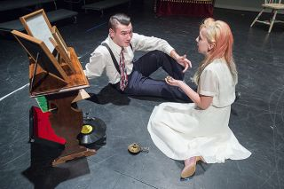 "Marcus Larson/News-Register##Laura (Kylee Gwilliam) and her date, Jim (Daniel Salewski), discuss her collection of glass figurines in Tennessee Williams' ""The Pretty Trap,"" an early version of ""The Glass Menagerie.""  The one-act play is directed by Mac High student Eric Armstrong."