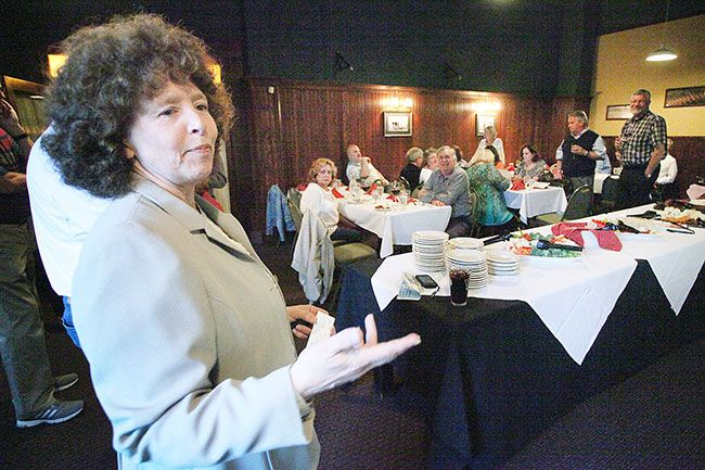 Rockne Roll/News-Register##McMinnville School District Superintendent Maryalice Russell addresses supporters of the McMinnville school bond measure during an election night party at Golden Valley Brewery in McMinnville on Tuesday, May 17.