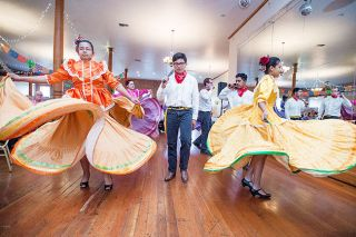 Marcus Larson / News-Register##Dancers form the Culturas Unidas group at McMinnville High School perform at Fiesta en la Plaza May 21 in the McMinnville Grand Ballroom. The event raised funds for Lutheran Community Services  immigration services.