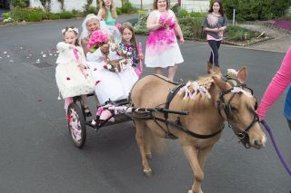 Marcus Larson/News-Register##Flower girls Rebecca and Aeva toss rose petals and white rhododendron blossoms as bride Susan Dragoon makes her way to the wedding site.