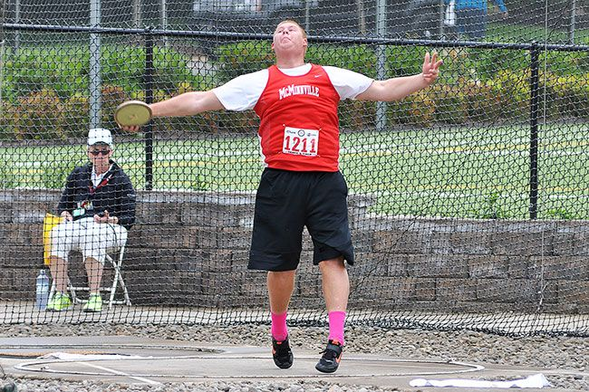Robert Husseman/News-RegisterMcMinnville senior Tim Tatton finished second in the 6A boys  discus throw (163 feet, 1 inch).