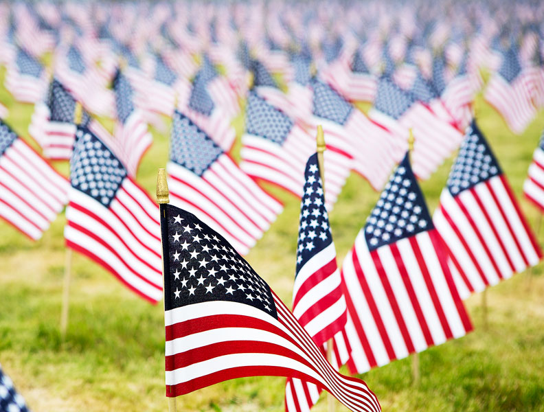 Rockne Roll / News-Register##Flags at the McMinnville Christian Academy honor Oregon s fallen.