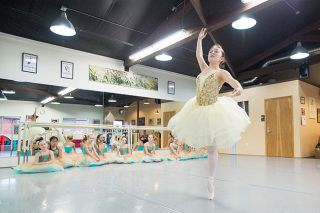 "Marcus Larson/News-Register##Leuxie Rank dances the role of Princess Aurora, the main character in ""Sleeping Beauty."" Gallery Ballet and Tap will stage the ballet and other dances June 3-5."