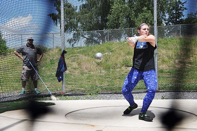 Robert Husseman/News-Register##Lindsay McShane of Amity competes in the girls  hammer throw at the 2016 Oregon State High School Hammer Championships Sunday.