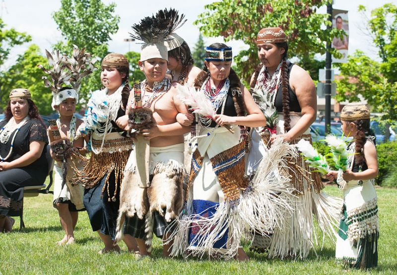 Marcus Larson/News-Register##The Siletz Feather Dancers perform during a celebration Thursday at Chemeketa Community College Yamhill Valley Campus. The Grand Ronde Canoe Family singers also danced and sang during the event. The third annual Native American Spring Gathering is to honor Native