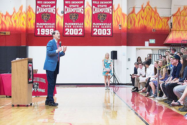 Marcus Larson/News-Register##Senator Ron Wyden speaks to students and community members at McMinnville High School on Friday.