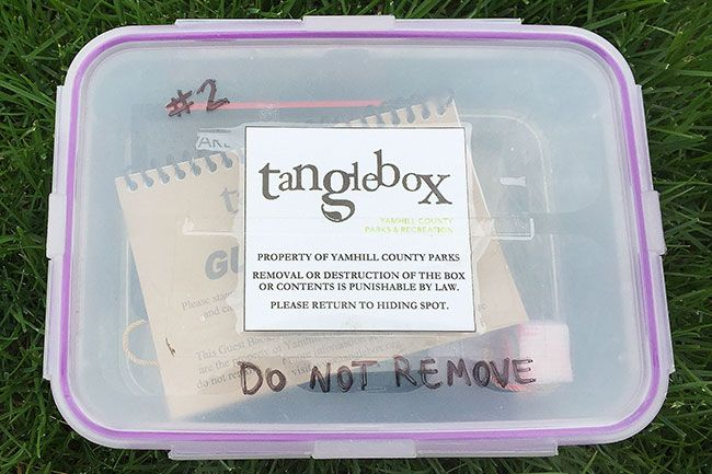 "Submitted photo##Park goers can hunt for hidden treasure — ""tangleboxes"" filled with a stamp proving their success — in 10 county, city and state parks this summer. Clue-filled Tangleboxing passports cost $3."