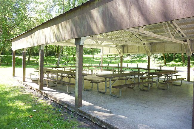 Starla Pointer/News-Register##Ed Grenfell Park offers a large picnic shelter and grills that can be reserved for groups or used by visiting families.