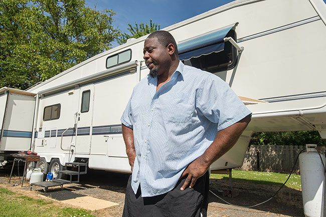 Marcus Larson/News-Register file photo##Kevin Trotter, a resident at Mulkey RV Park, speaks about the difficulty of finding a new place to live after residents were given an eviction notice.