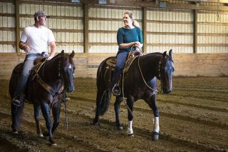 Rockne Roll/News-Register##Erica Fitzgerald saddles up. A native of the Bald Peak area, she started taking riding lessons at 5. She quickly decided that her life would revolve around horses.