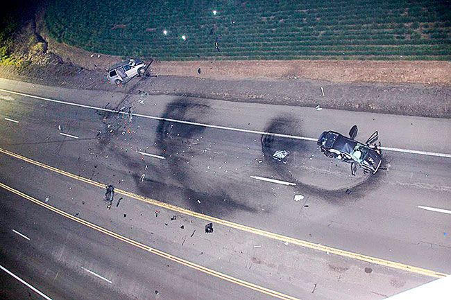 Oregon State Police##A May 4 crash north of McMinnville on 99W left one dead and three injured. Police say it was the result of a high-speed street race. Jeremy Hopper crashed his Mitsubishi into a van driven by Claudio Martinez-Marquez.