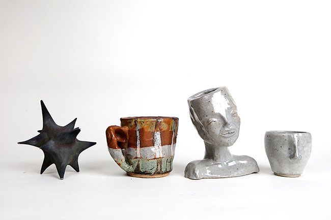 Rockne Roll/News-Register##Some of Clover-Owens' ceramic work, including the inclined head planter.