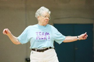 Rockne Roll/News-Register##Hilda Farris dances the mambo as she leads the McMinnville Community Center's senior exercise class.