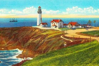 Postcard image##Yaquina Head Lighthouse — the tallest on the Oregon Coast — as it appeared around 1920.