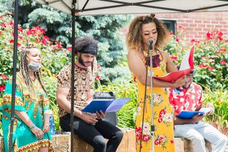 Marcus Larson/News-Register##Organizer Shai Sesay McDonough speaks at a Juneteenth celebration in Newberg.