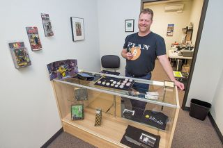 Marcus Larson / News-Register##Curt Tyler in his new cyber currency store.