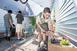 Marcus Larson/News-Register##Eagle Scout Jason King puts the finishing touches
