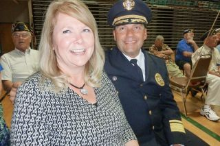 Starla Pointer/News-Register##Carlton Police Chief Kevin Martinez and his wife,