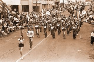 News-Register file photo##On July 4, 1976, Mac's pep band plays in the parade.