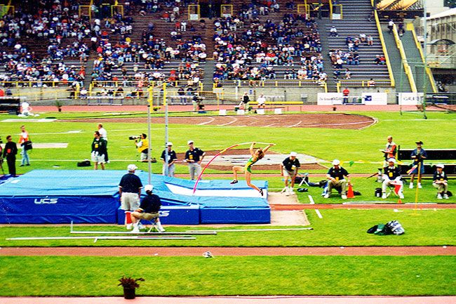 Courtesy of Karina TaylorKarina Elstrom competes for the University of Oregon at Hayward Field in this undated photograph.