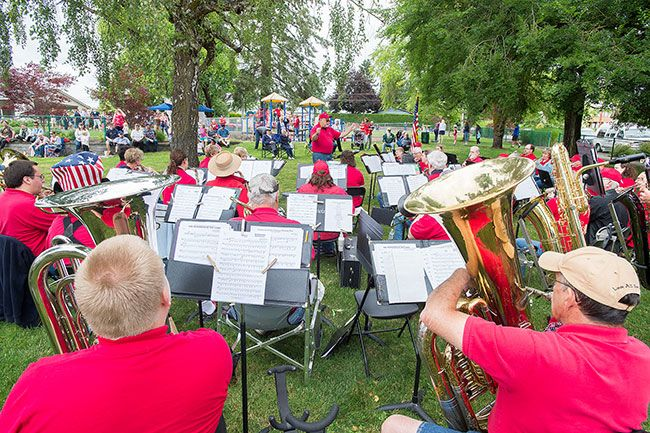 Marcus Larson/News-Register##The Second Winds Band performs patriotic tunes in Joel Perkins Park during Lafayette s community Fourth of July celebration.