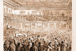 Image: archive.org##This illustration from the Feb. 18, 1865, issue of Harper's Weekly shows celebration breaking out in the U.S. House of Representatives after the 13th Amendment was passed.