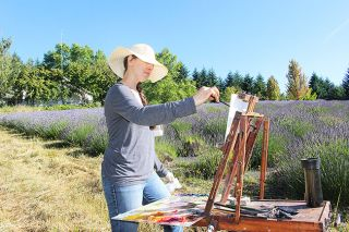 Nastacia Voisin/News-RegisterJennifer Diehl paints a morning landscape at Wood Lavender Farm as part of the annual Oregon Lavender Paint Out. She'll submit her work to the Yamhill Lavender Festival's Plein Air Art Show in Beulah Park this weekend.