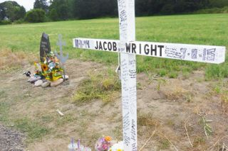 Starla Pointer/News-Register## A roadside memorial is set up at the scene of a double-fatal crash west of Carlton. A joint service for Jacob Coshaw (Wright) and Shantel Fugere will be held Saturday at  Yamhill-Carlton High School.