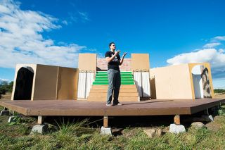 Marcus Larson/News-Register##As Hamlet, Brandon Vilanova of Penguin Productions performs a scene on the troupe's outdoor stage near Newberg. Penguin is staging a shortened version of Shakespeare's play.