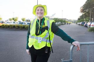 Marcus Larson/News-Register##Faith Gerstel poses for a portrait while volunteering as a member of the CERT emergency response team during theJuly 4th Spectacular at the Evergreen Aviation & Space Museum.