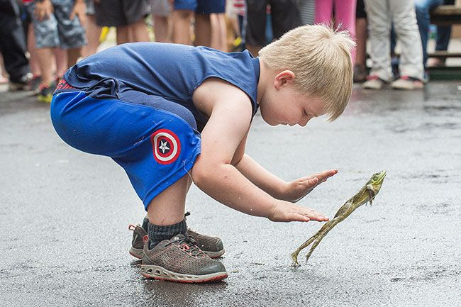 "News-Register file photo##Grayson Luttrell and ""Ironman"" compete in the frog jumping contest during last year's Yamhill Derby Days."