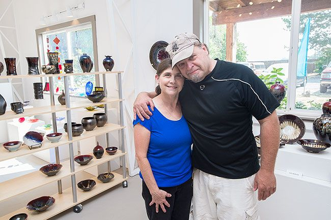 Marcus Larson/News-Register##Susan and Dan Wheeler work as a team in both their creative endeavors and their business, Fire's Eye Gallery, on Highway 18 west of McMinnville.