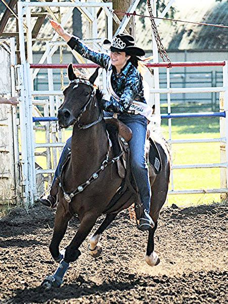 Submitted photoJozie Larson rides in a Western Horsemen of Oregon event. Last year, she won a belt buckle for the fastest time in junior barrel racing at WHO's competition between Oregon and Washington riders.