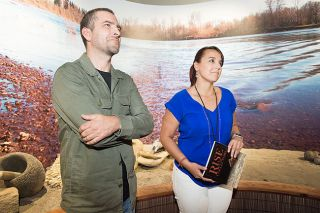 Marcus Larson/News-Register##Travis Stewart, interpretive coordinator at the Chachalu Museum and Cultural Center, and Sara Thompson, deputy press secretary for the Confederated Tribes of Grand Ronde, introduce an exhibit of tribal artifacts on loan from the British Museum.