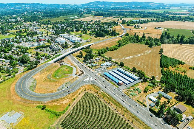 Oregon Department of Transportation photo##Aerial photo taken earlier this year of the large fishhook on the south terminus of Phase 1 of the Newberg-Dundee Bypass.