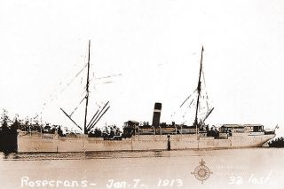 C. Christensen / saltwaterpeoplehistorysociety.blogspot.com##The SS Rosecrans shortly before the fatal shipwreck.
