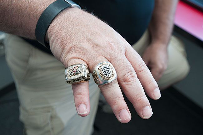 Marcus Larson/News-RegisterAs a member of the San Francisco GIants' organization, Miglioretto has received two Giants World Series championship rings and three championship rings from the Volcanoes.