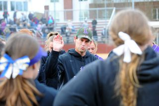 Rusty Rae/News-Register file photo##Linfield head coach Jackson Vaughn reviews his team's performance after a series with PLU during the 2017 season.
