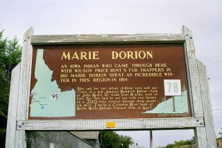 Image: Rebecca Maxwell/ HMDb.org##This historical marker near Fort Boise commemorates the winter Marie Dorion spent in the Idaho wilderness en route back to Astoria in the winter of early 1814.